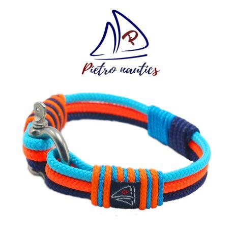 Halványkék - neon narancs - sötétkék  színű  vitorlás karkötő