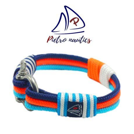 Halványkék - neon narancs - sötétkék - fehér  színű  vitorlás karkötő