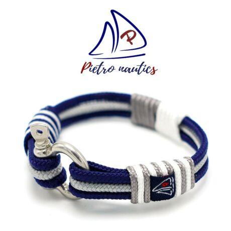 Sötétkék - ezüst - fehér színű vitorlás karkötő