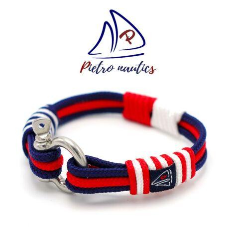 Sötétkék - piros - fehér színű vitorlás karkötő