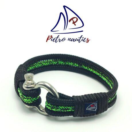 Fekete neon zöld-fekete cirmos mintás vitorlás karkötő XXL