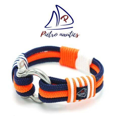 Sötétkék - neon narancs - fehér színű vitorlás karkötő XXL