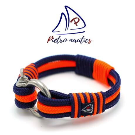 Sötétkék - neon narancs színű vitorlás karkötő XXL