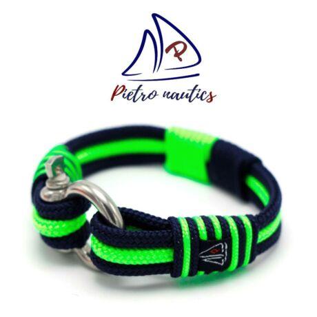 Sötétkék - neon zöld  színű vitorlás karkötő XXL