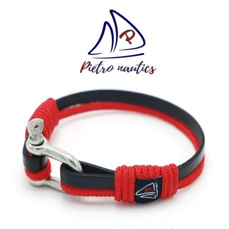 Fekete bőr és piros kötél karkötő