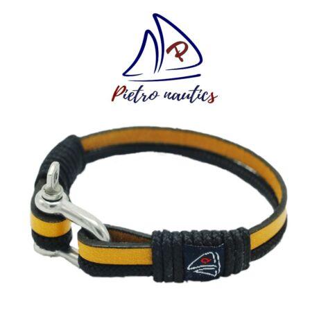 Mustár bőr és fekete kötél karkötő