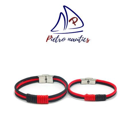 Fekete piros színű vitorlás karkötő Duo