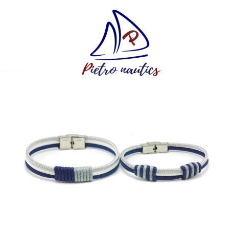 Sötétkék fehér ezüst színű vitorlás karkötő Duo