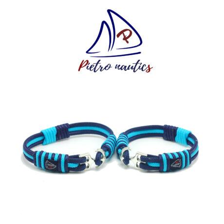 Sötétkék halványkék színű vitorlás karkötő Duo