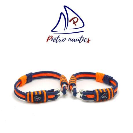 Sötétkék neon narancs színű vitorlás karkötő Duo