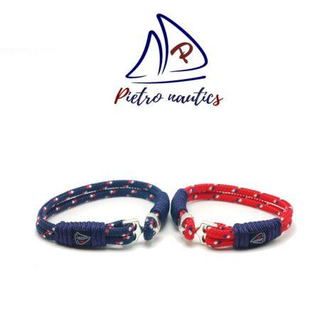 Sötétkék, fehér-piros mintás és Piros-sötétkék-fehér mintás vitorlás karkötő Duo