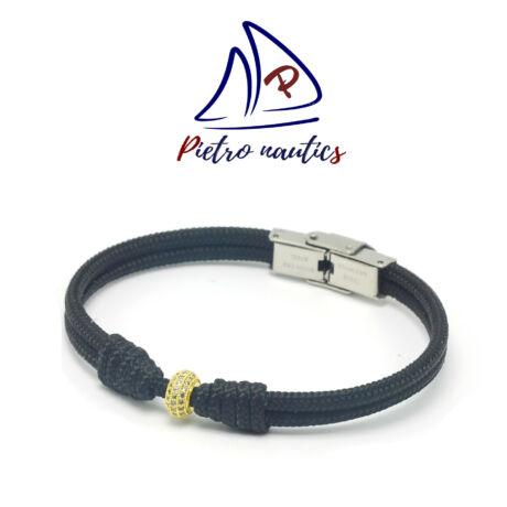 pietro-nautics-fekete-vitorlas-karkoto-arany-strasszos-köztessel-3mm-orakapcsos