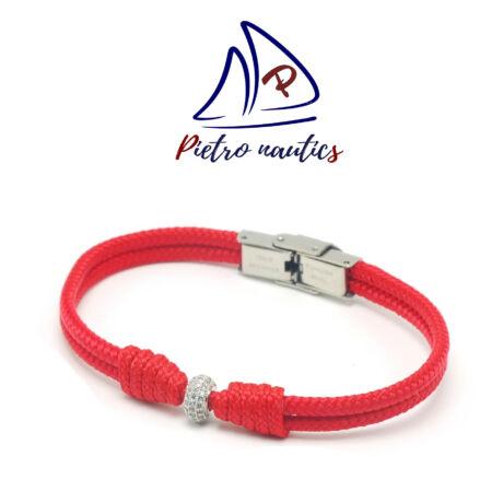 pietro-nautics-piros-vitorlas-karkoto-ezüst-strasszos-gyöngy-köztessel-3mm-orakapcsos