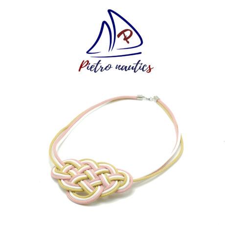 Halvány rózsaszín- fehér - bézs kelta csomós nyakék